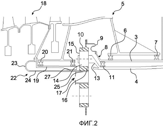 Механизм привода пары воздушных винтов противоположного вращения посредством планетарной зубчатой передачи