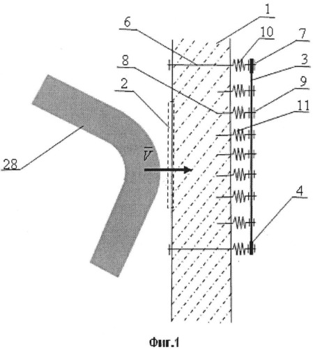 Устройство для защиты внутреннего объема помещения от осколков поврежденной стены ударом извне