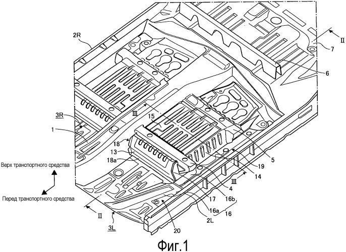 Конструкция размещения блока аккумуляторных батарей транспортного средства