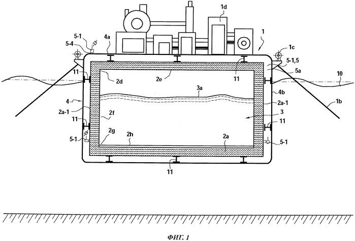 Плавучая опора или судно, оснащенное устройством обнаружения движения свободной поверхности тела жидкости