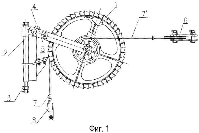 Компенсационное устройство храпового колеса с косыми зубьями