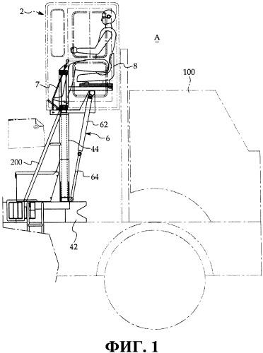 Рабочее транспортное средство с регулируемой по высоте кабиной