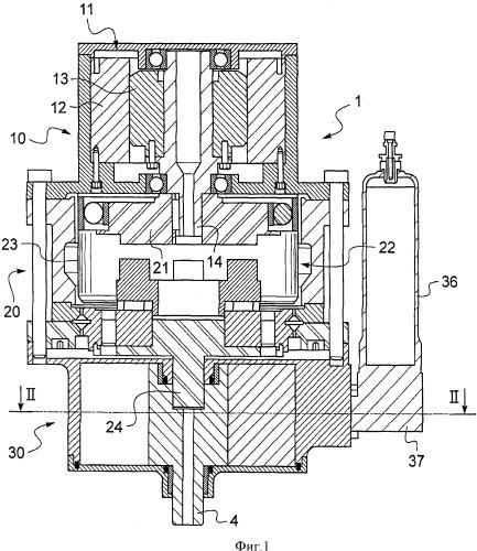 Электромеханический привод с гидравлическим регулированием и шасси, оборудованное таким приводом для управления его перемещением