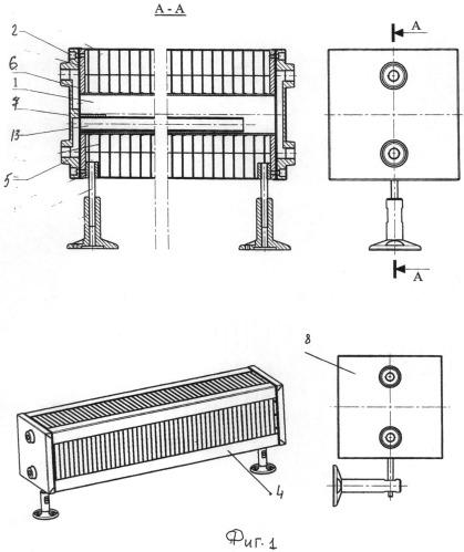 Трубчатый радиатор отопления с горизонтальным расположением элемента