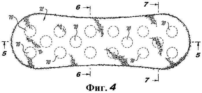 Поглощающее изделие, включающее в себя поглощающую сердцевину, имеющую множество первых зон и вторую зону, окружающую каждую из первых зон