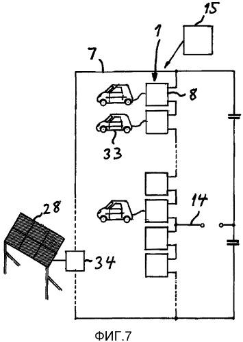 Электроустановка с емкостью для зарядки электрических батарей