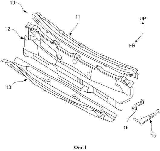 Структура верхней панели капота транспортного средства