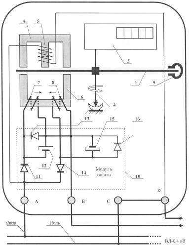 Схема защиты индукционных электросчетчиков