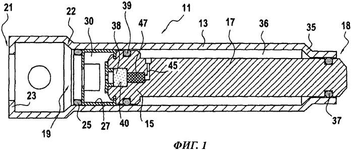 Силовой цилиндр с пусковым механизмом для защитного устройства, встроенного в автомобиль для защиты пешехода в случае лобового столкновения