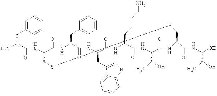 Имплантат октреотида, содержащий высвобождающее вещество