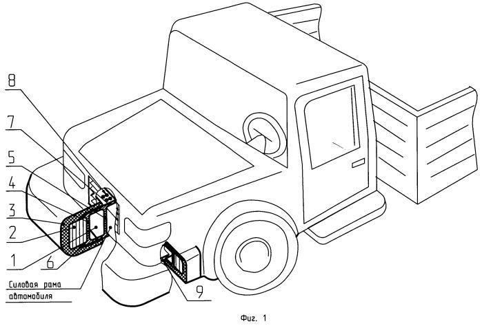 Бамперное защитное устройство для грузовых автомобилей и автобусов способ изготовления упругогистерезисных элементов из проволочного материала