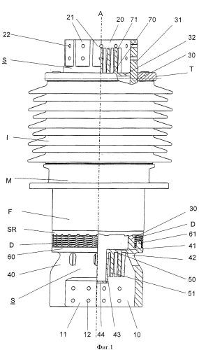 Электрический проводник сильноточного проходного изолятора