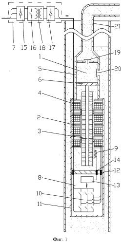 Насосная установка с погружным линейным вентильным электродвигателем