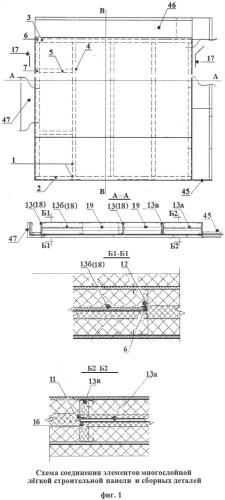 Элемент многослойной легкой строительной панели и способ его изготовления
