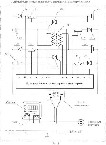 Устройство для исследования работы индукционных электросчетчиков