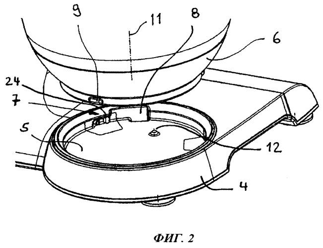Кухонный прибор и емкость для обработки с соединительным устройством