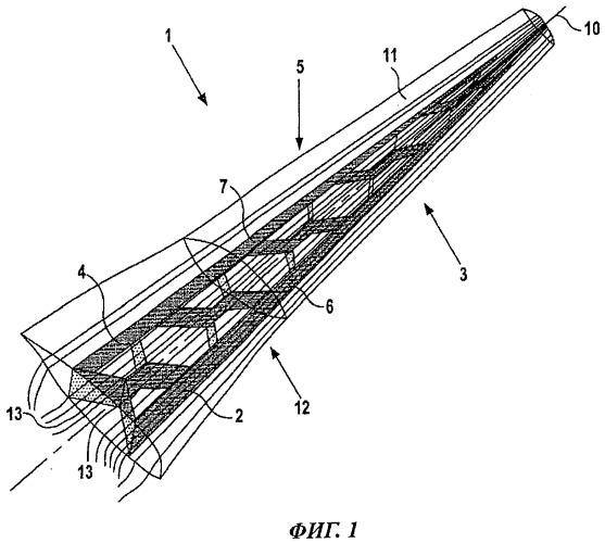 Аэродинамическая конструкция, имеющая аэродинамический профиль, с гофрированным усиливающим элементом