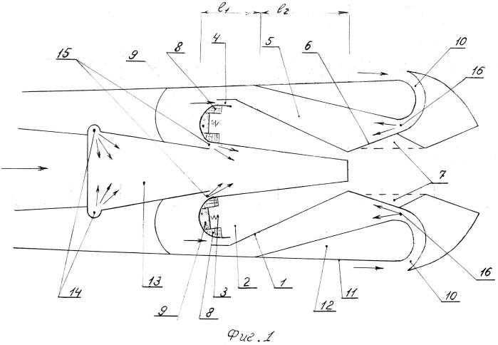 Гиперзвуковой, воздушно реактивный двигатель с детонационно-пульсирующей камерой сгорания, с совмещением гиперзвукового реактивного потока со сверхзвуковым прямоточным один в другом