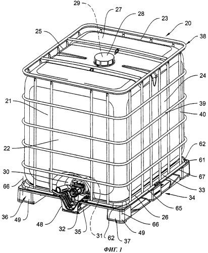 Поддон на полозьях, в особенности для контейнеров для транспортировки и хранения жидкостей