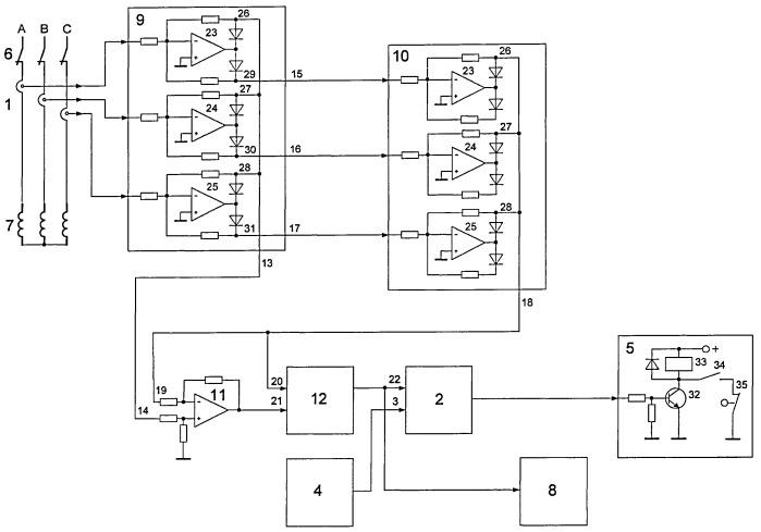 Устройство контроля работы и защиты трехфазного электродвигателя