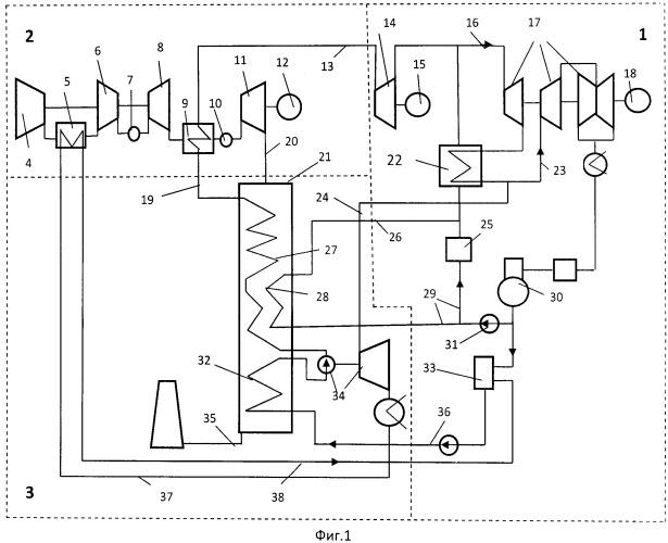 Парогазовая надстройка паротурбинного энергоблока с докритическими параметрами пара