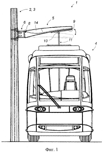 Узел воздушной линии для обеспечения электроэнергией наземного транспортного средства, оснащенного верхней структурой захвата