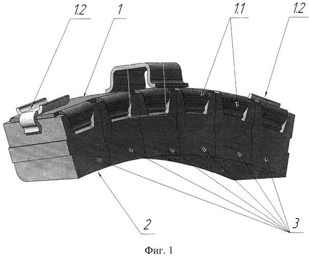 Колодка вагонная тормозная композиционная на основе железа