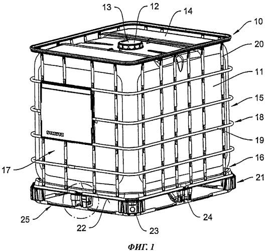 Несущая рама в виде поддона для контейнеров для транспортировки и хранения жидкостей