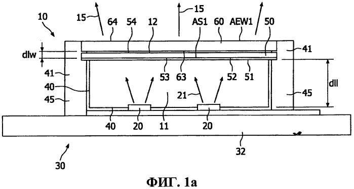 Осветительное устройство с сид и передающим основанием, включающим люминесцентный материал