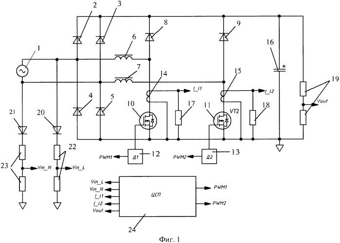 Способ и система управления безмостовым корректором коэффициента мощности с помощью цифрового сигнального процессора