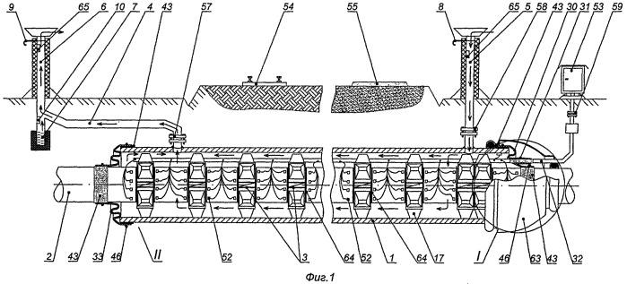 Переход газонефтепровода и способ его сборки, хомут-стяжка, опорно-направляющее кольцо для перехода и устройство для сборки кольца.