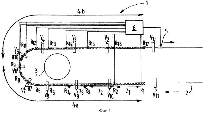 Способ контроля прохождения вагонетки в установке для перевозок по подвесной канатной дороге