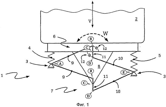 Устройство подвески с рычажным механизмом уатта с интегрированным подрессориванием/демпфированием
