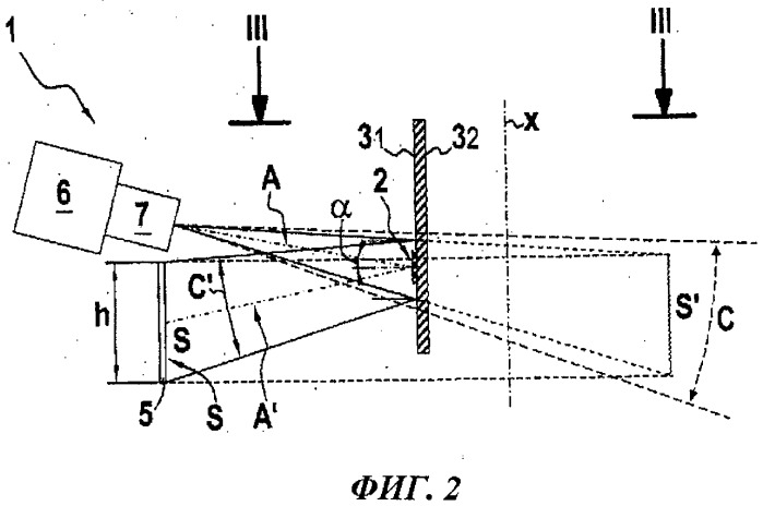 Способ и оптическое устройство для анализа метки на светопроницаемой или прозрачной криволинейной стенке