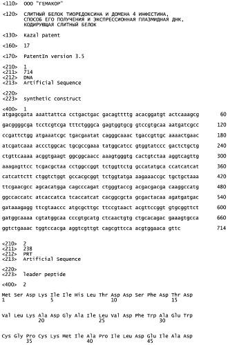 Слитый белок тиоредоксина и домена 4 инфестина, способ его получения, экспрессионная плазмидная днк, кодирующая слитый белок, и бактерия рода escherichia coli, трансформированная такой плазмидной днк