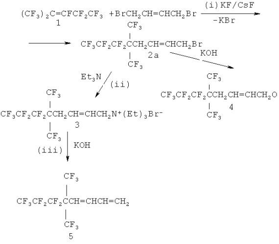 Способ синтеза 6,6,7,7,8,8,8-гептафтор-5,5-(трифторметил)октадиена-1,3-перспективного мономера для фторсодержащих полимеров