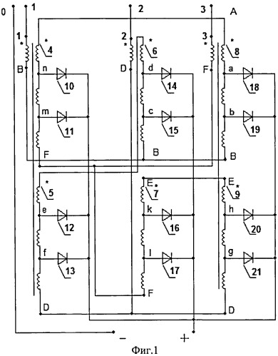 Двенадцатифазный понижающий автотрансформаторный преобразователь числа фаз