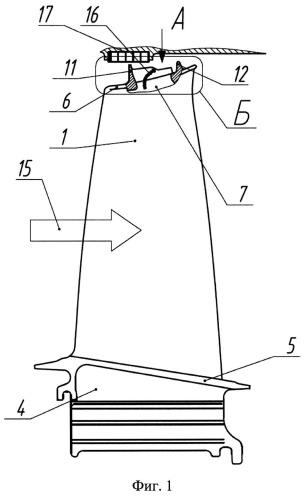 Рабочая лопатка турбины газотурбинного двигателя
