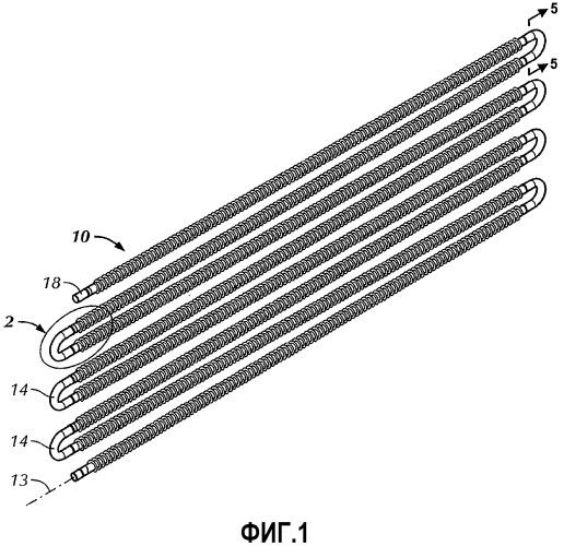 Испарительный теплообменный аппарат со змеевиком из ребристых эллиптических труб в сборе