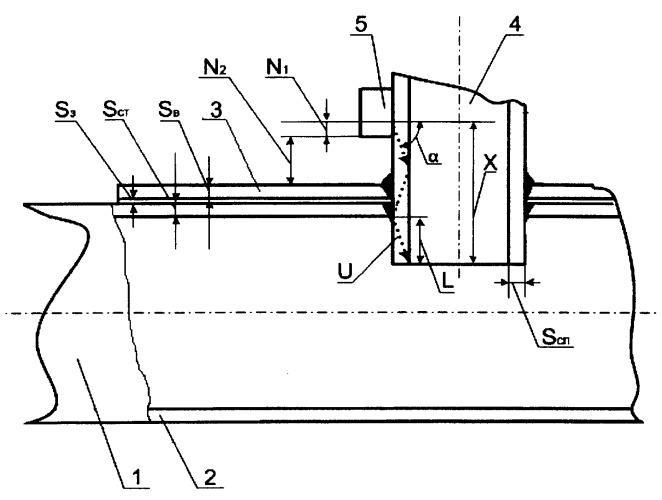 Способ определения высоты внутренней выступающей части патрубка вантуза с помощью ультразвукового дефектоскопа