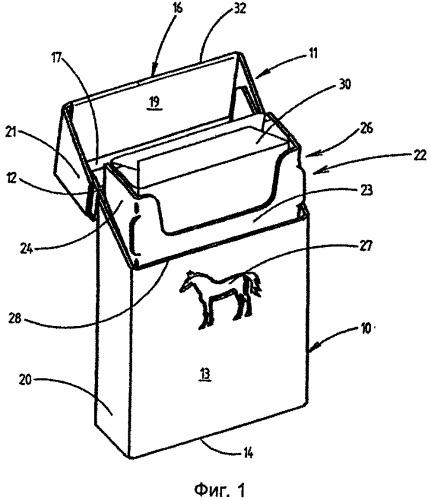 Коробка с откидной крышкой для сигарет