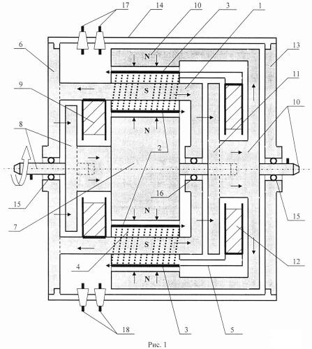 Бесколлекторный двухроторный двигатель постоянного тока