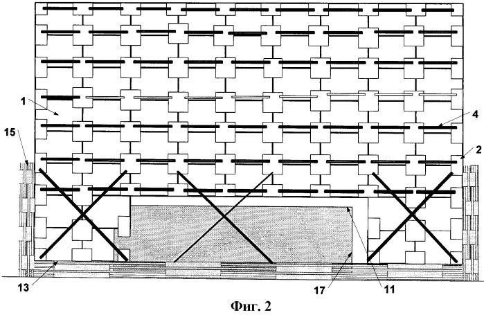 Способ формирования и крепления штабеля пакетированных материалов с прямоугольным основанием на транспортном средстве (варианты)