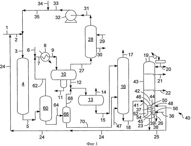 Способ и установка для извлечения тяжелых полициклических ароматических соединений из потока гидрообработки