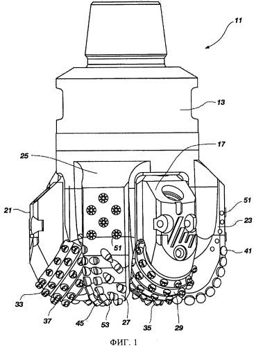 Гибридное буровое долото с большим боковым передним углом наклона вспомогательных дублирующих резцов