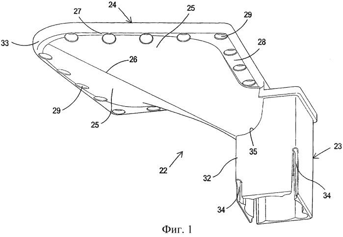 Соединительный узел между ножкой и полкой мебели