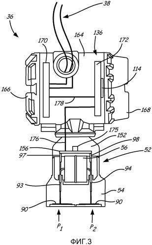 Передатчик дифференциального давления с комплементарными сдвоенными датчиками абсолютного давления