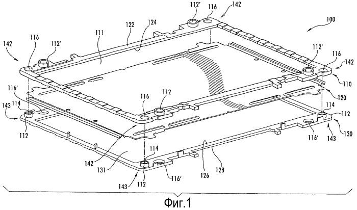 Система элементов аккумуляторной батареи с соединенными между собой рамками