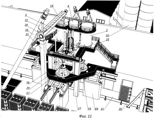 Скоростной способ изготовления строительных изделий повышенной пустотности с объемной вертикальной формовкой из разнородных смесей, строительное изделие повышенной пустотности, технологическая линия для изготовления строительных изделий повышенной пустотности с объемной вертикальной формовкой из разнородных смесей