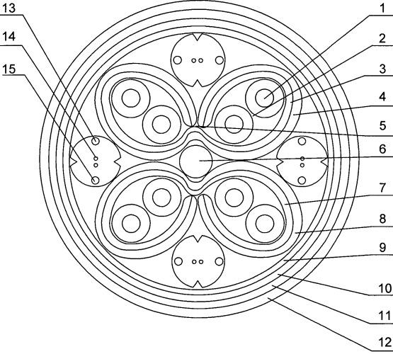 Комбинированная конструкция экранированного симметричного четырехпарного кабеля с в-формы модулями и с усиленными оптическими модулями